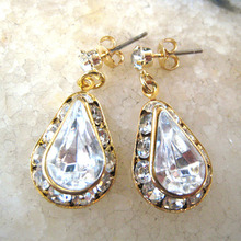 Crystal Drop Rondelle Earring