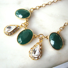 Green+Crystal Drop Necklace