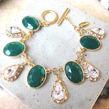 Green+Crystal Drop Bracelet